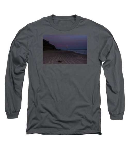 Super Moon At Downhill Beach Long Sleeve T-Shirt
