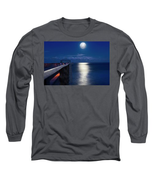 Long Sleeve T-Shirt featuring the photograph Super Moon At Juno by Laura Fasulo