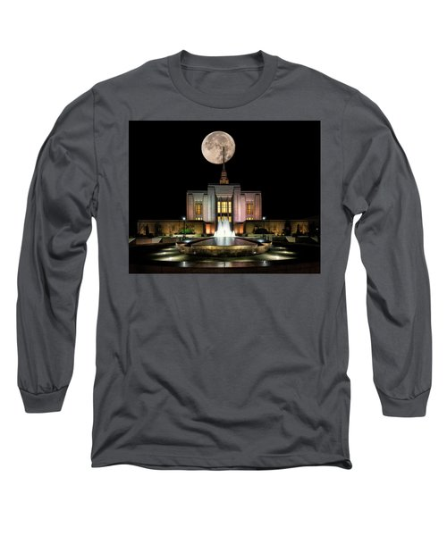 Super Moon At Ogden Lds Temple Long Sleeve T-Shirt