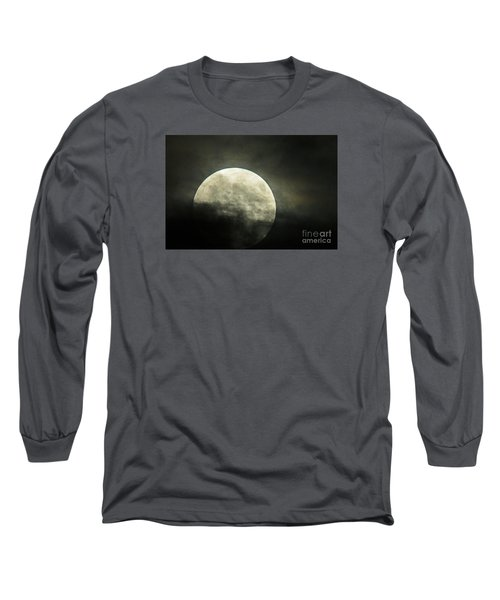 Super Moon In Clouds Long Sleeve T-Shirt