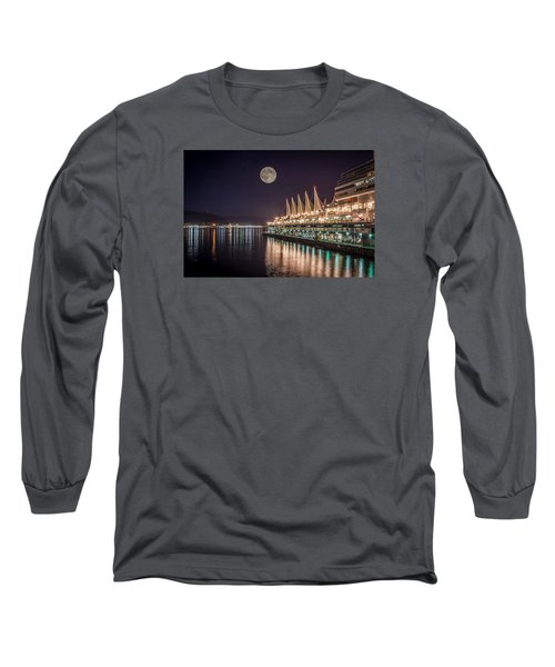 Long Sleeve T-Shirt featuring the photograph Super Moon Over Canada Place by Sabine Edrissi
