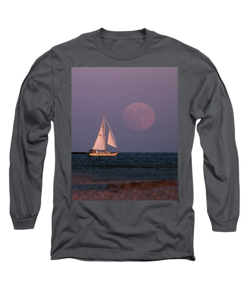 Supermoon Two Long Sleeve T-Shirt by John Loreaux