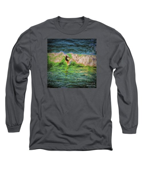 Long Sleeve T-Shirt featuring the photograph Surfer  ... by Chuck Caramella