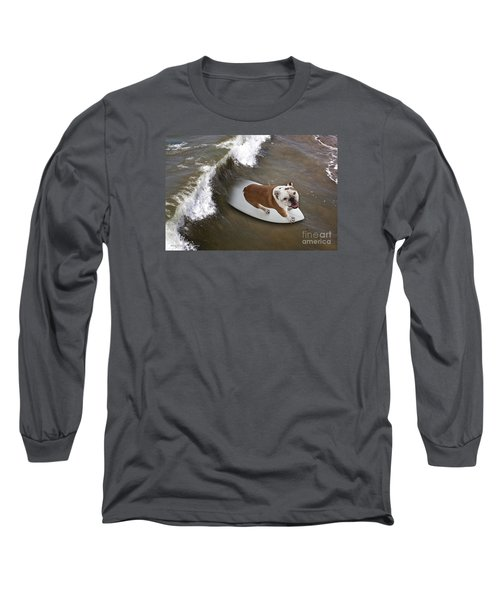 Surfer Dog Long Sleeve T-Shirt by John A Rodriguez