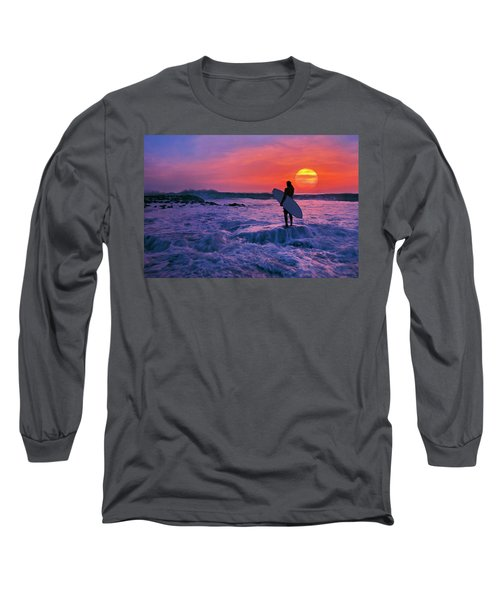 Surfer On Rock Looking Out From Blowing Rocks Preserve On Jupiter Island Long Sleeve T-Shirt by Justin Kelefas