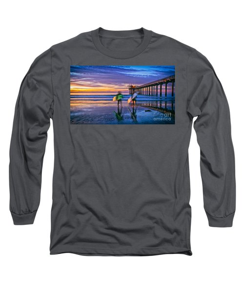 Surfers At Scripps Pier In La Jolla California Long Sleeve T-Shirt