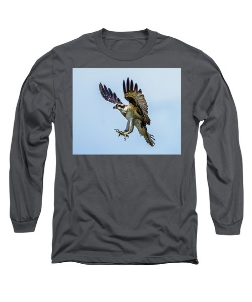 Suspended Osprey Long Sleeve T-Shirt by Jerry Cahill