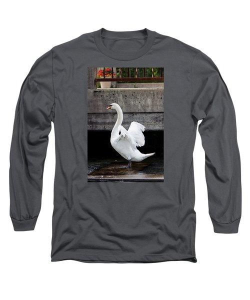 Swan At The Bridge Long Sleeve T-Shirt