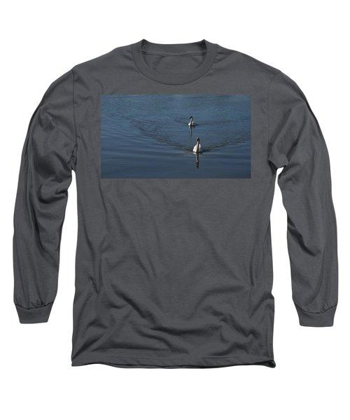 Swans On Deep Blue Long Sleeve T-Shirt