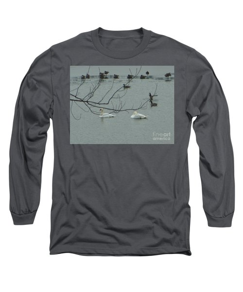 Long Sleeve T-Shirt featuring the photograph Swans With Geese by Rockin Docks Deluxephotos