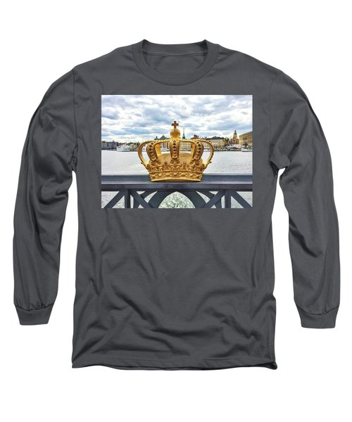 Swedish Royal Crown On A Bridge In Stockholm Long Sleeve T-Shirt by GoodMood Art