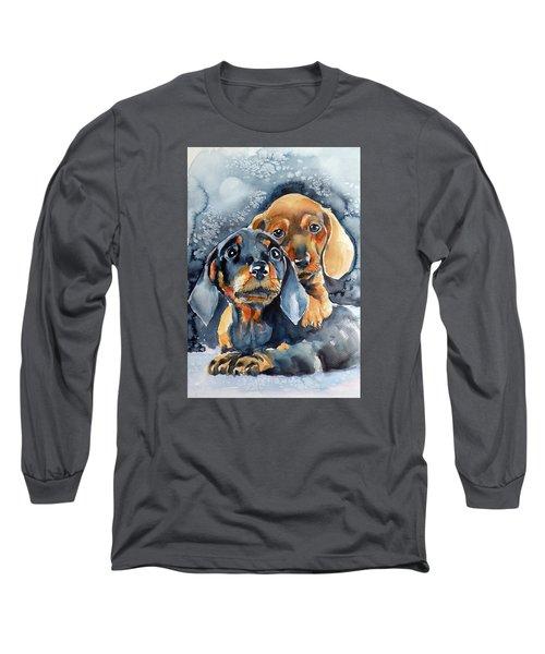 Sweet Little Dogs Long Sleeve T-Shirt by Kovacs Anna Brigitta