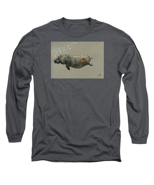 Swimming Hippo Long Sleeve T-Shirt