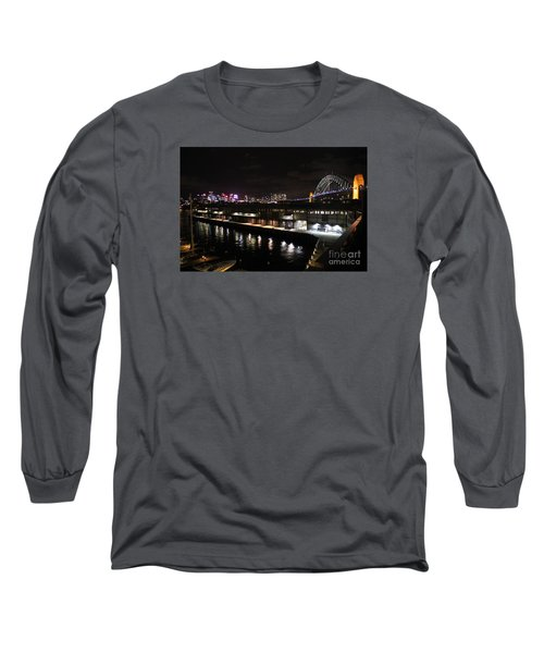 Sydney Harbor At Night Long Sleeve T-Shirt by Bev Conover