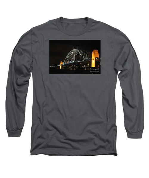 Sydney Harbor Bridge At Night Long Sleeve T-Shirt by Bev Conover