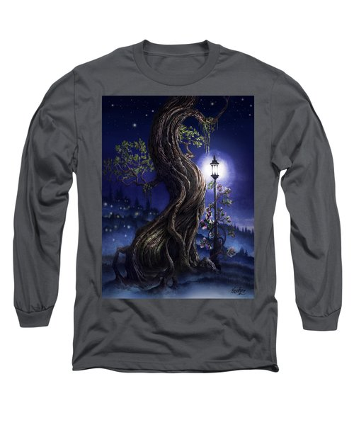 Long Sleeve T-Shirt featuring the painting Sylvia And Her Lamp At Dusk by Curtiss Shaffer