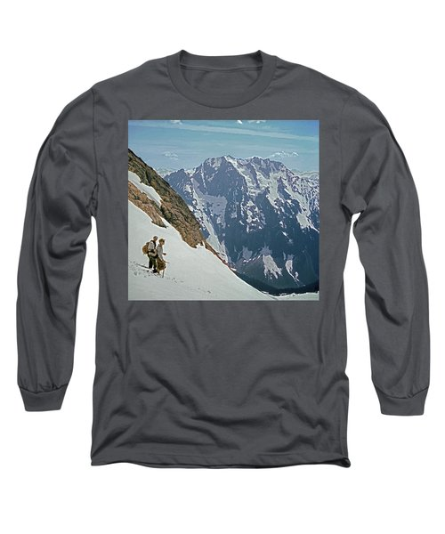 T-04402 Fred Beckey And Joe Hieb After First Ascent Forbidden Peak Long Sleeve T-Shirt