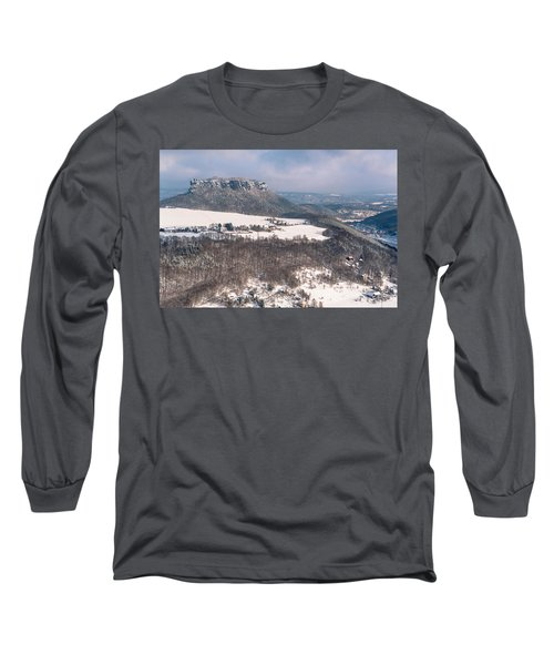 Long Sleeve T-Shirt featuring the photograph Table Mountain Pfaffenstein. Saxony by Jenny Rainbow