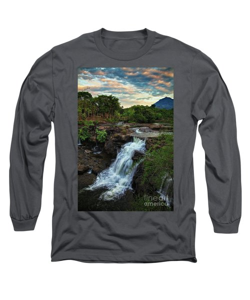 Tad Lo Waterfall, Bolaven Plateau, Champasak Province, Laos Long Sleeve T-Shirt by Sam Antonio Photography