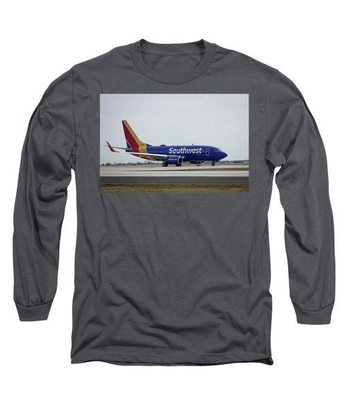 Take Off Southwest Airlines N7878a Hartsfield-jackson Atlanta International Airport Art Long Sleeve T-Shirt