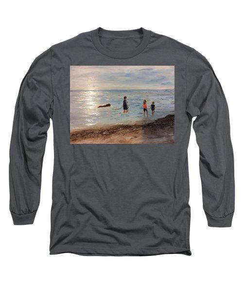 Taking A Newfoundland For A Walk Along The Beach Long Sleeve T-Shirt