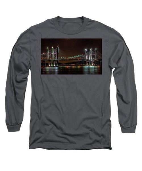 Tale Of 2 Bridges At Night Long Sleeve T-Shirt