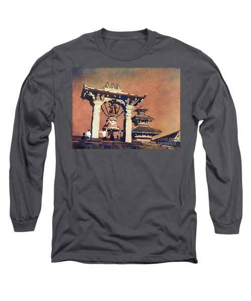 Long Sleeve T-Shirt featuring the painting Taleju Bell- Patan, Nepal by Ryan Fox
