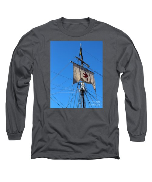 Tall Ship Mast Long Sleeve T-Shirt by Cheryl Del Toro