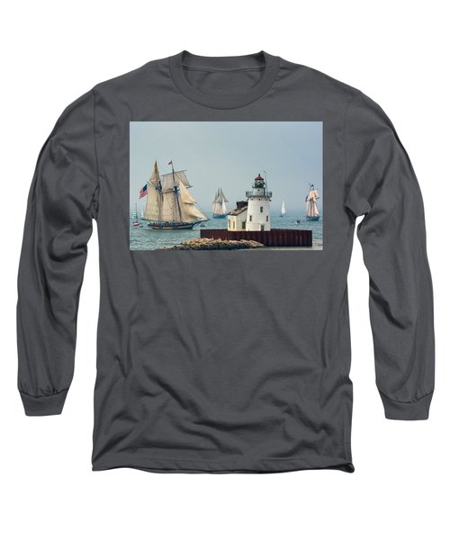 Tall Ships At Cleveland Lighthouse Long Sleeve T-Shirt