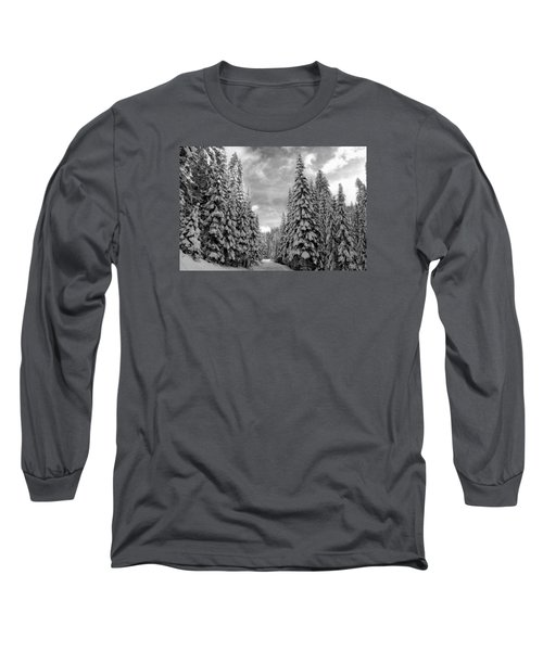 Tall Snowy Trees Long Sleeve T-Shirt by Lynn Hopwood