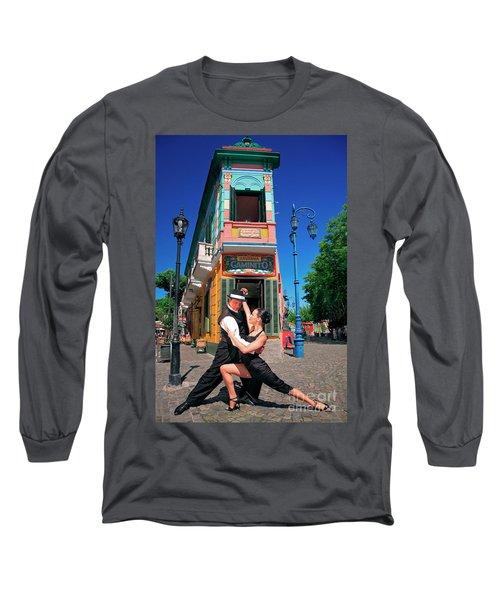 Long Sleeve T-Shirt featuring the photograph Tango At Caminito by Bernardo Galmarini