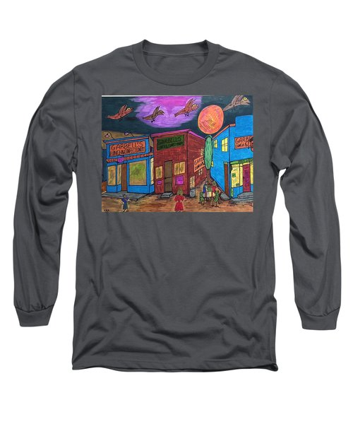 Long Sleeve T-Shirt featuring the drawing Garbell's Lunch And Confectionery by Jonathon Hansen