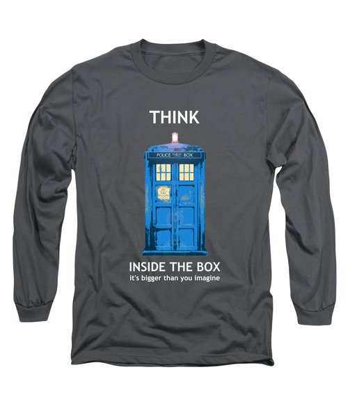 Tardis - Think Inside The Box Long Sleeve T-Shirt by Richard Reeve