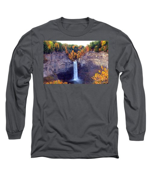 Taughannock Waterfalls In Autumn Long Sleeve T-Shirt by Paul Ge