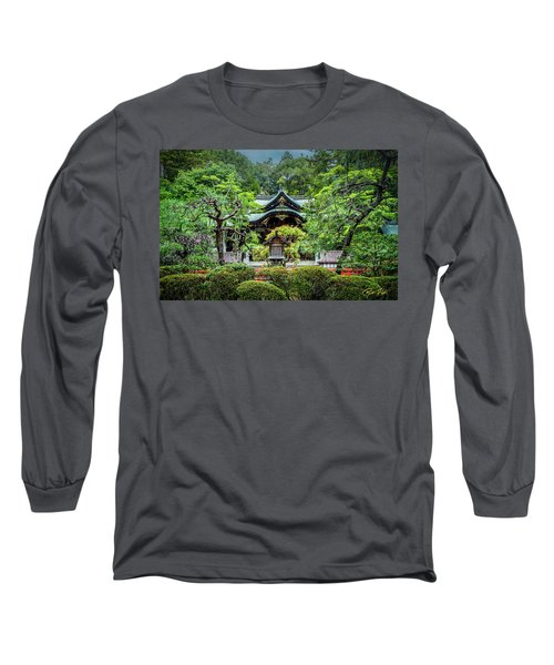 Long Sleeve T-Shirt featuring the photograph Temple In The Rain by Rikk Flohr