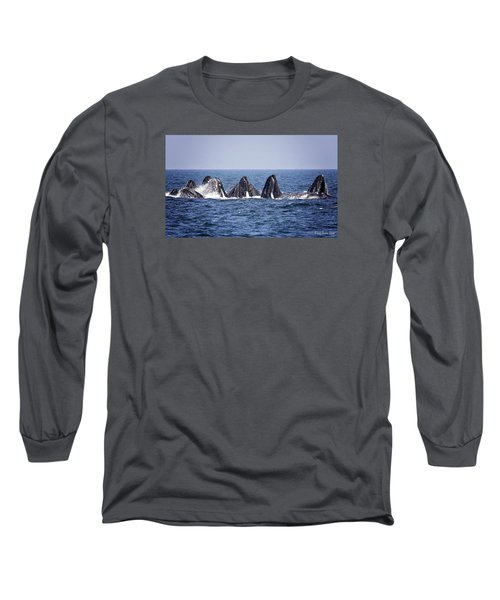 Ten Lunge Feeding Humpbacks Long Sleeve T-Shirt