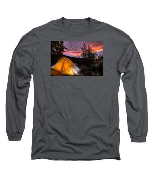 Tent At Sunset Long Sleeve T-Shirt by Michael J Bauer