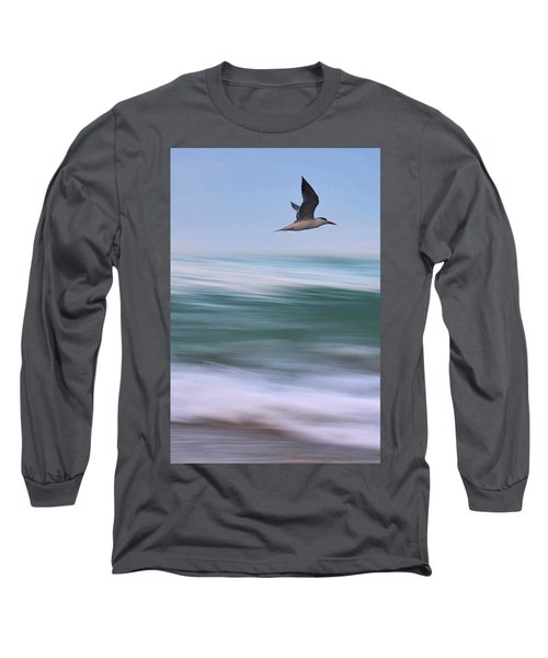 Long Sleeve T-Shirt featuring the photograph Tern Flight Vert by Laura Fasulo
