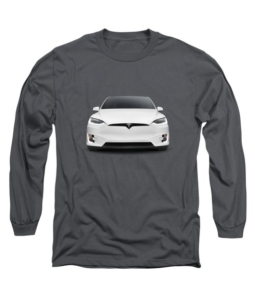 Tesla Model X Luxury Suv Electric Car Front Art Photo Print Long Sleeve T-Shirt