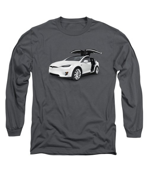 Tesla Model X Luxury Suv Electric Car With Open Falcon-wing Doors Art Photo Print Long Sleeve T-Shirt by Oleksiy Maksymenko