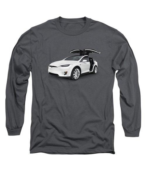 Tesla Model X Luxury Suv Electric Car With Open Falcon-wing Doors Art Photo Print Long Sleeve T-Shirt