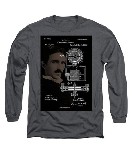 Tesla Motor Patent Drawing Long Sleeve T-Shirt