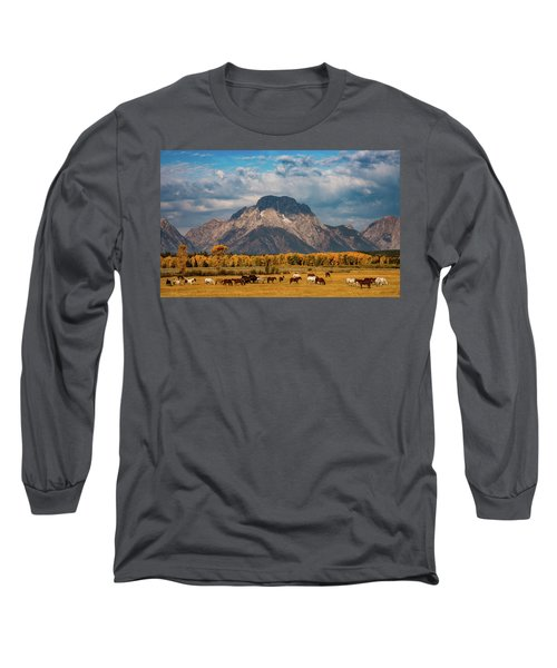 Long Sleeve T-Shirt featuring the photograph Teton Horse Ranch by Darren White