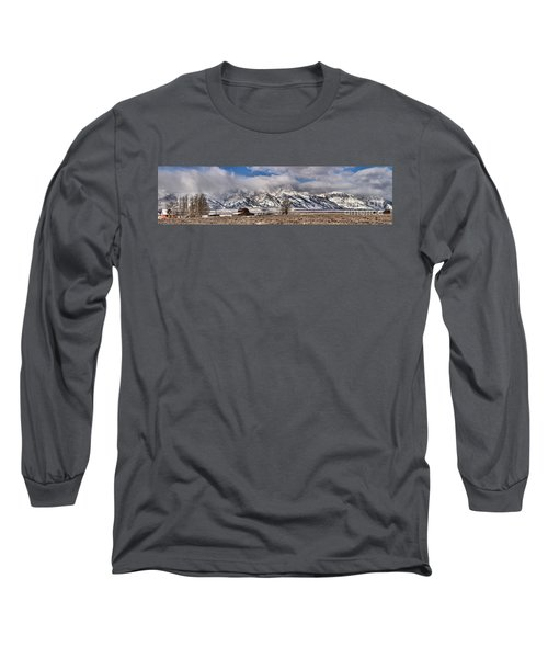 Long Sleeve T-Shirt featuring the photograph Teton Mormon Homestead Panorama by Adam Jewell