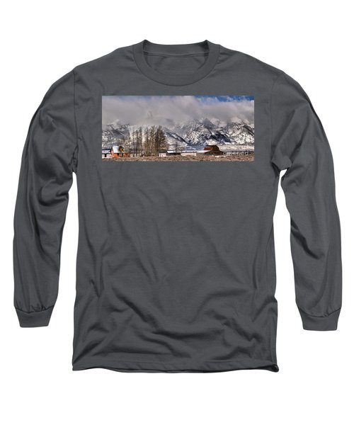 Long Sleeve T-Shirt featuring the photograph Teton Mormon Row Panorama by Adam Jewell