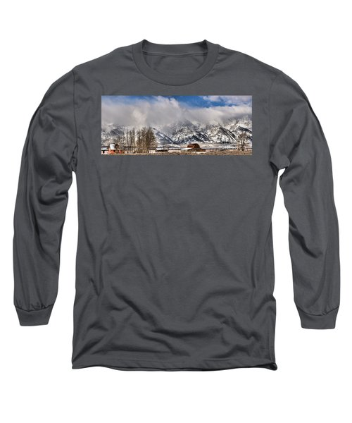 Long Sleeve T-Shirt featuring the photograph Teton Mountains Over Mormon Row by Adam Jewell