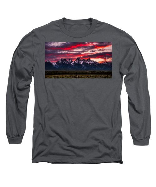 Teton Sunset Long Sleeve T-Shirt by Darren White