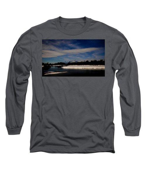 Tetons At Moonlight Long Sleeve T-Shirt