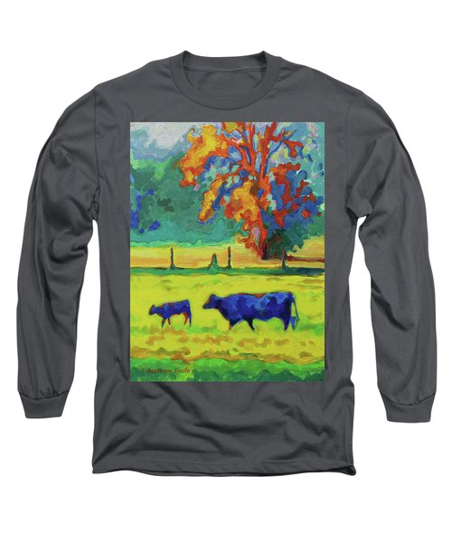 Texas Cow And Calf At Sunset Print Bertram Poole Long Sleeve T-Shirt by Thomas Bertram POOLE