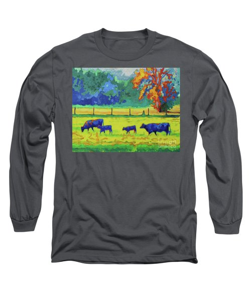 Long Sleeve T-Shirt featuring the painting Texas Cows And Calves At Sunset Painting T Bertram Poole by Thomas Bertram POOLE